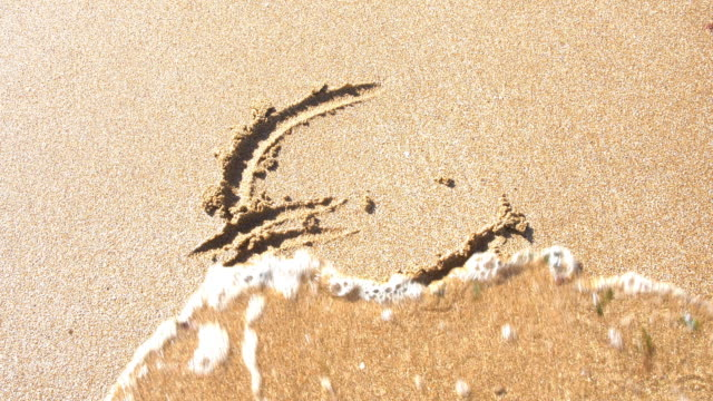 Euro symbol in sand, washed away by the sea.
