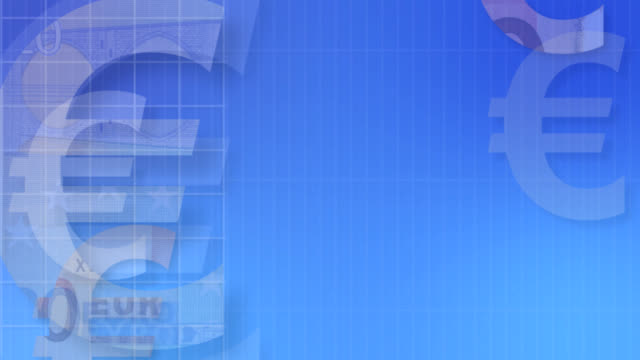 Euro símbolos en azul (bucle - vídeo