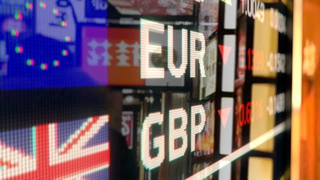 euro till brittiska pund valutaväxling på skärmen, vägskylt, staden bakgrunder - brexit bildbanksvideor och videomaterial från bakom kulisserna