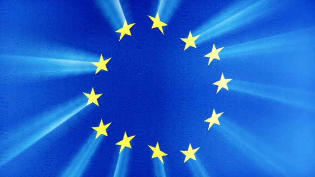 Euro Union flag waving seamless loop with sun light rays new quality unique animated dynamic motion joyful colorful cool background video footage video