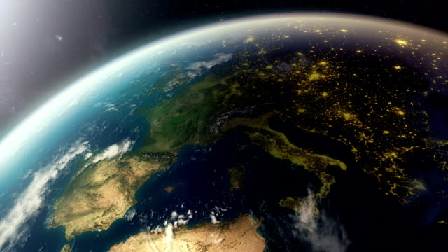 Europe from space, day to night video