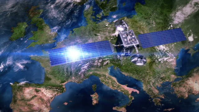 Europe. Telecommunication satellite orbiting Earth. video