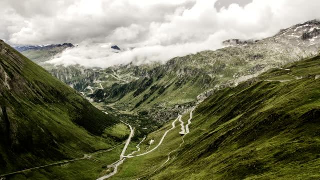 European Alpine Pass in clouds. video
