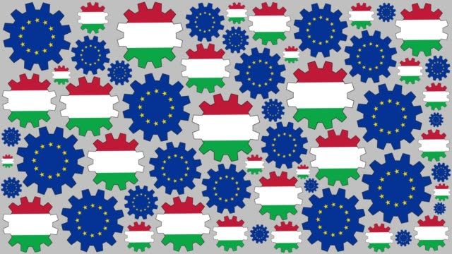 European and italian flag gears spinning background video