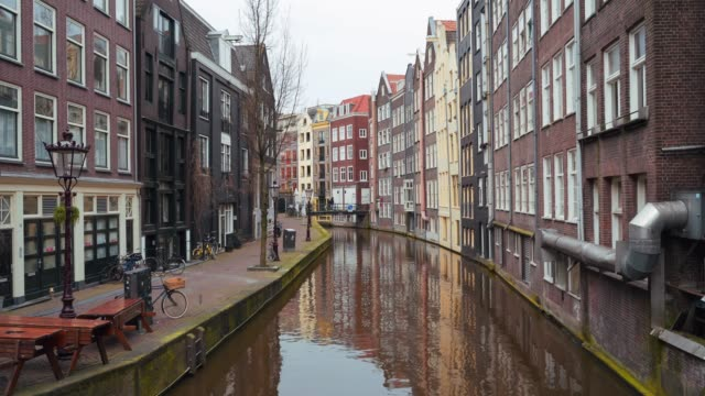 European city Amsterdam downtown landscape with empty streets without people, all stores closed, city on quarantine due to outbreak of coronavirus covid-19 video