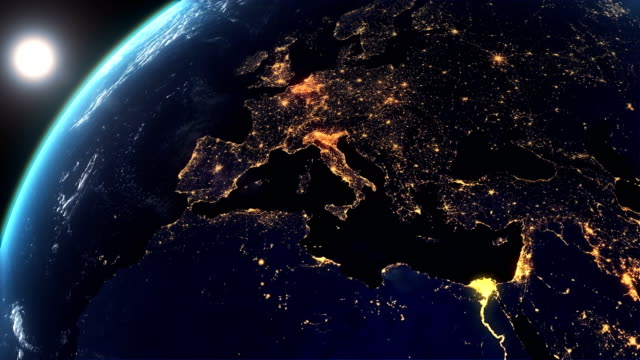 european city lights from the space and sunrise - world map stock videos & royalty-free footage