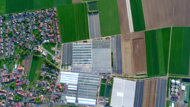 European city near greenhouses, a large greenhouse complex near the European village, Google Maps illusion