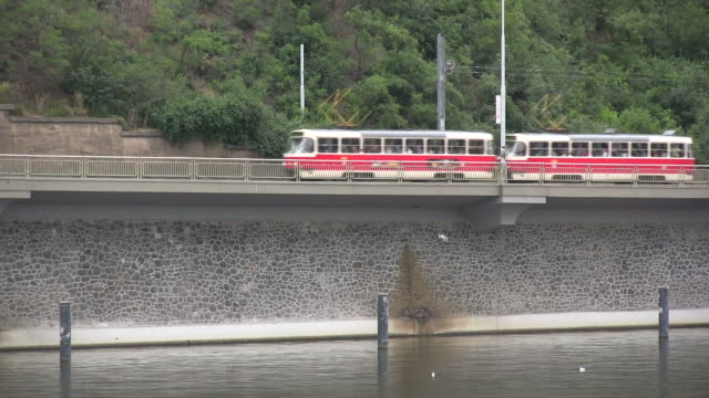 (HD1080i) European Commuters: Trams Across River