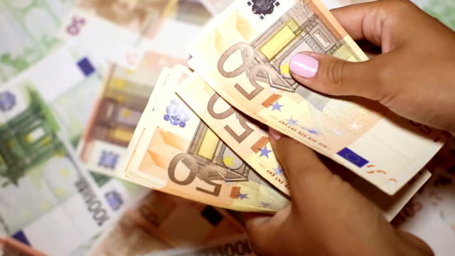 European currency in female hands video
