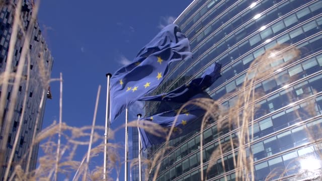 vidéos et rushes de drapeaux européens agitant devant la commission européenne - démocratie