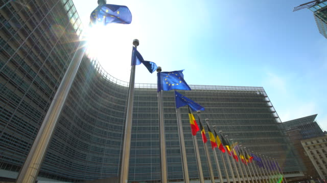 European Parliament with flags in Brussels video