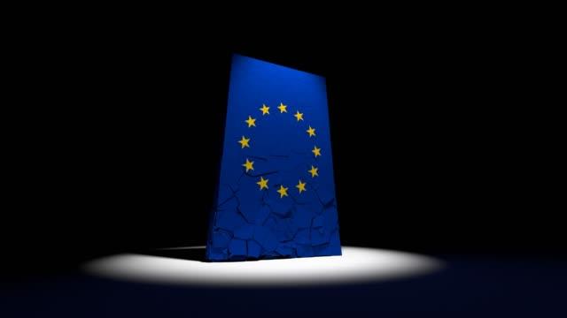 eu 欧州連合崩壊フラグ ユーロ ヨーロッパ ヨーロッパの 4 k - 全壊点の映像素材/bロール