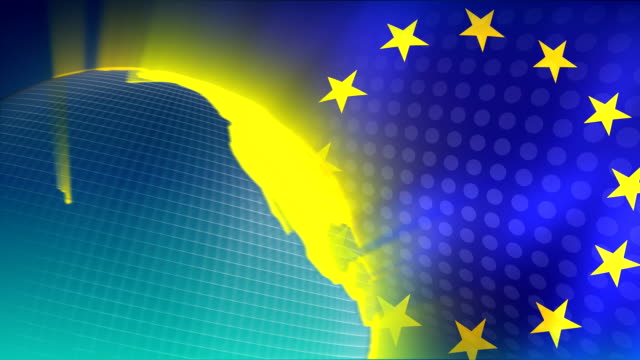 European Union Flag and Globe Video Background HD1080 video