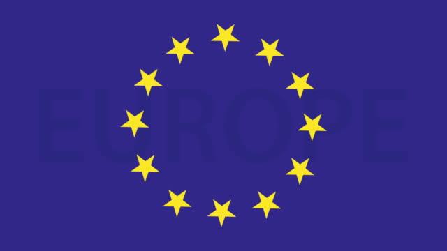 flagge der europäischen union. flagge von europa mit motion stars 4k video - europäische union stock-videos und b-roll-filmmaterial