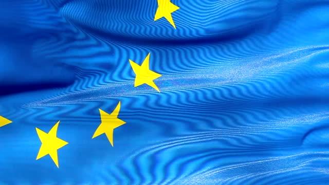 flaga unii europejskiej w wiatr - insygnia filmów i materiałów b-roll