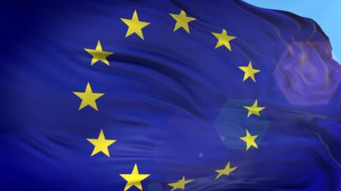 European Union Flag - Slow Motion - 4K Resolution European Union Flag, Europe, Sun, Flag, Waving europe stock videos & royalty-free footage