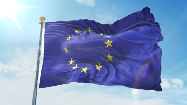 European Union flag waving in the wind against deep blue sky. National theme, international concept. 3D Render Seamless Loop 4K European Union flag waving in the wind against deep blue sky. National theme, international concept. 3D Render Seamless Loop 4K allegory painting stock videos & royalty-free footage