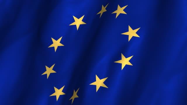 European Union Flag - waving, looping video