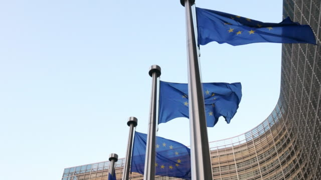 European Union flags at Berlaymont building - European Commission building in Brussels video