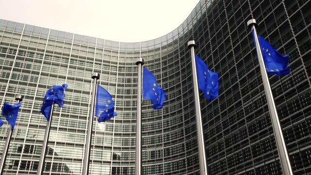 European Union flags in Brussels, Belgium
