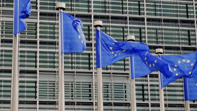 flaggen der europäischen union in brüssel, belgien - europäische union stock-videos und b-roll-filmmaterial