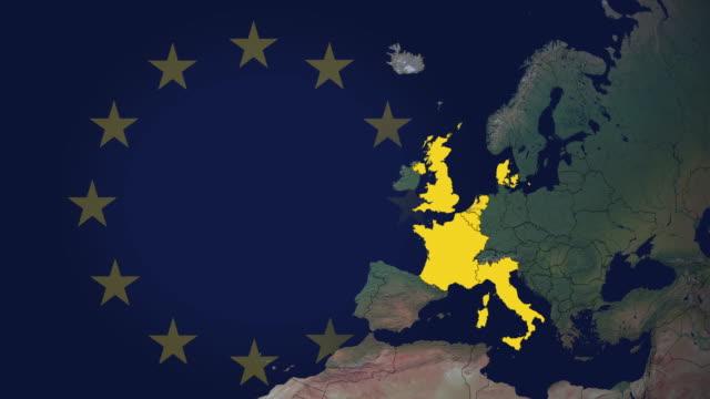 europeiska unionens tillväxt i 29 steg inklusive brexit och eu-flaggan - sweden map bildbanksvideor och videomaterial från bakom kulisserna