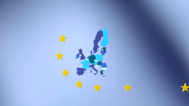 European Union map, twelve stars circle EU countries on blue background, unity video