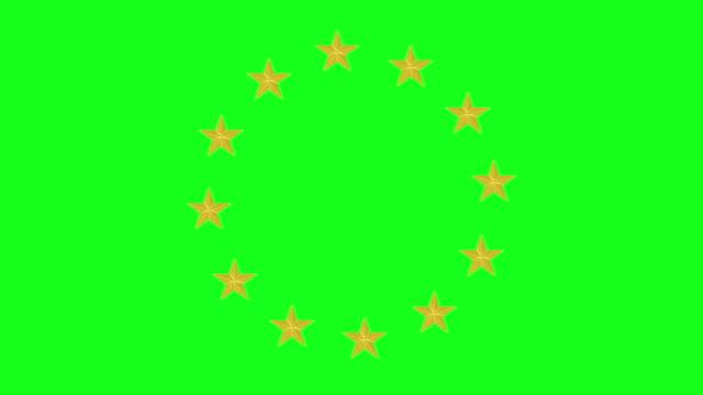 European Union Stars Animation on Green Screen BG video