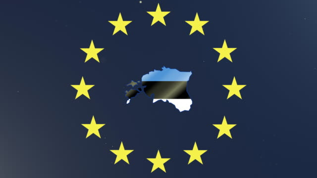 European union stars with outline of Estonia and national flag