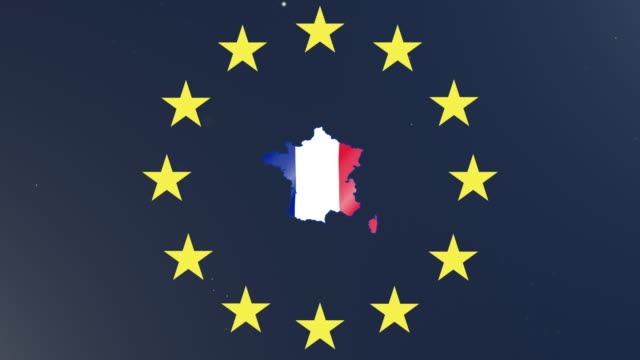 European union stars with outline of France and national flag