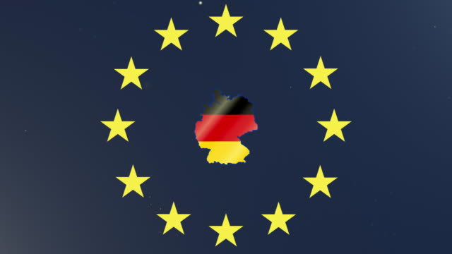European union stars with outline of Germany and national flag
