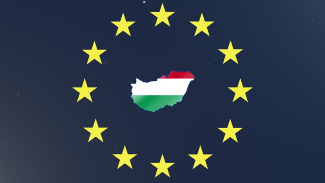 European union stars with outline of Hungary and national flag
