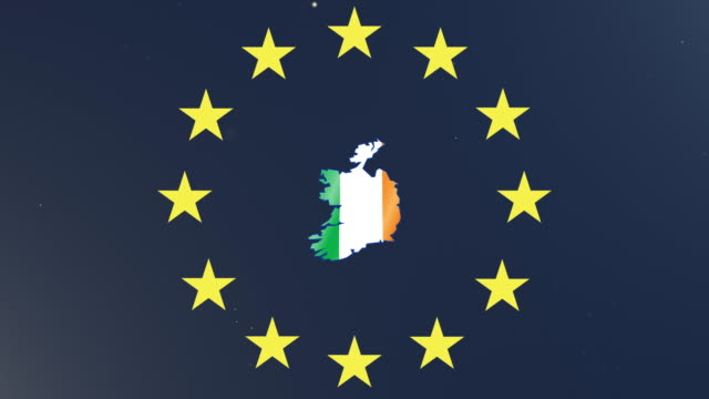 European union stars with outline of Ireland and national flag