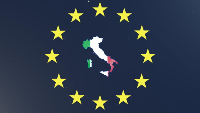 European union stars with outline of Italy and national flag