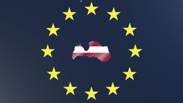 European union stars with outline of Latvia and national flag