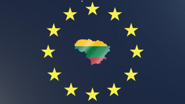European union stars with outline of Lithuania and national flag