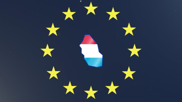 European union stars with outline of Luxembourg and national flag