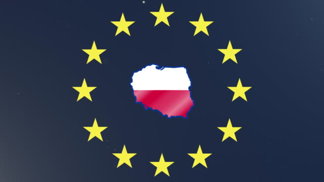 European union stars with outline of Poland and national flag