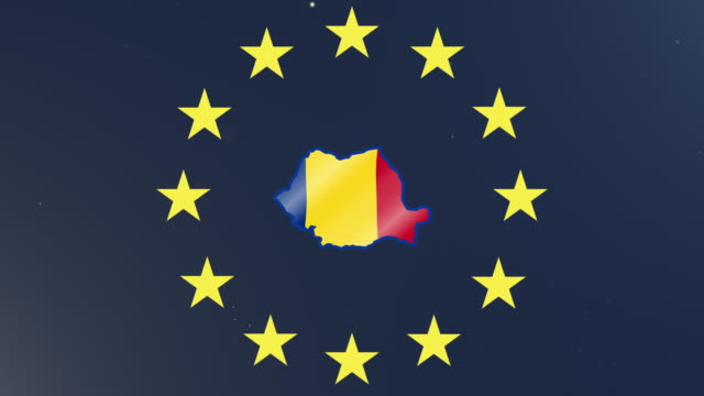 European union stars with outline of Romania and national flag