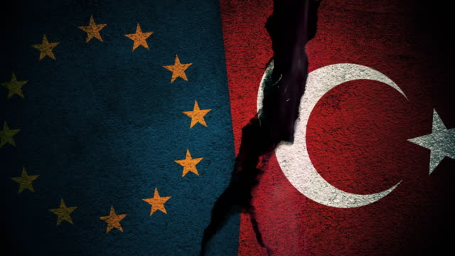 European Union vs Turkey Flags on Cracked Wall video