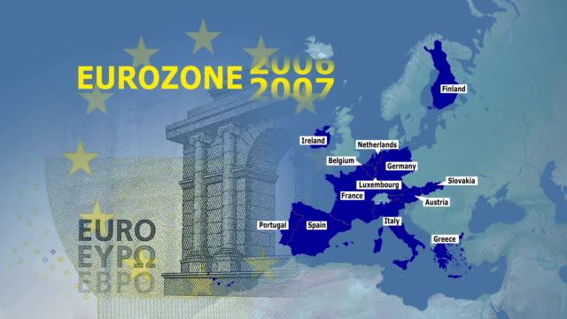 vídeos de stock e filmes b-roll de zona euro 2002-2014 - portugal map