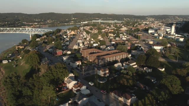 Evening Aerial Establishing Shot of Small Pennsylvania Town video