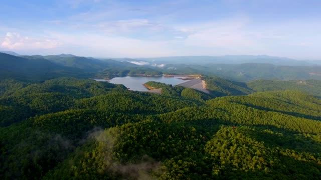 Evening Aerial of Lakes In Upstate South Carolina Blue Ridge Mountains