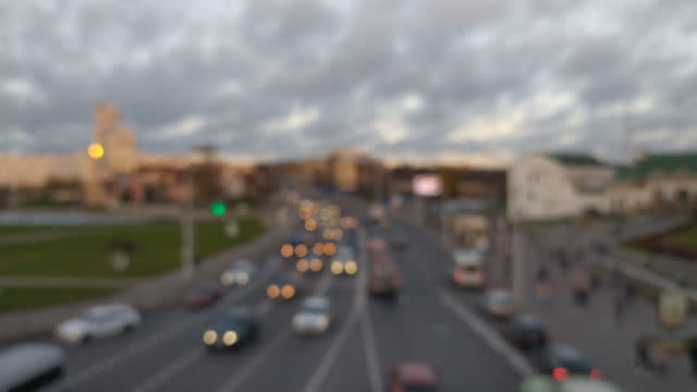 Evening city car traffic landscape background video