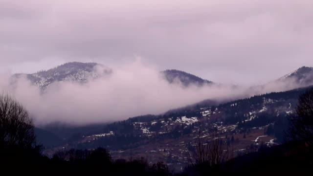 Evening Fog Covering the Mountain video