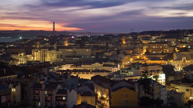 vídeos de stock e filmes b-roll de evening lisbon, portugal. panoramic shot after sunset - lisboa