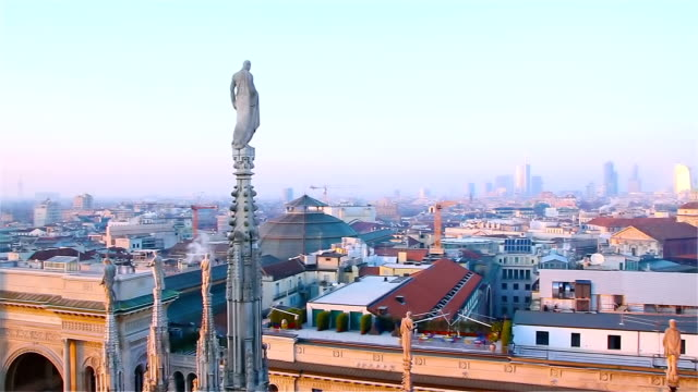 evening milan, view of the city from the terrace of the duomo - milan video stock e b–roll