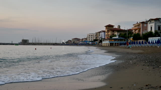Evening mood on the beach in Italy
