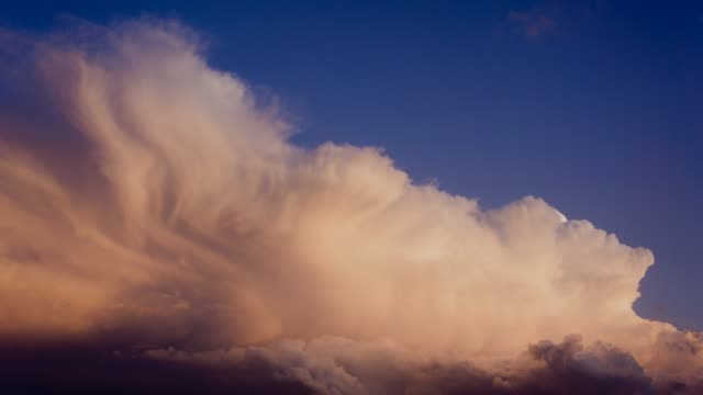 Evening sky with dramatically fast-moving thunderclouds