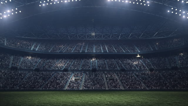 Evening soccer stadium background full of spectators Full 3d modelled and animated soccer stadium with moving lights. Less fog, more color. floodlight stock videos & royalty-free footage